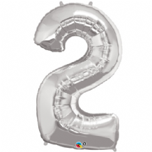 "Silver Number 2 Balloon - Foil Number Balloon 1pc (34"" Qualatex)"
